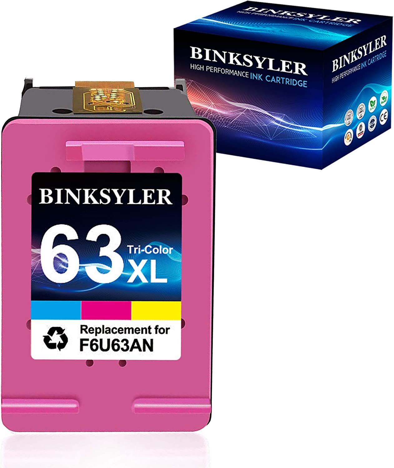 Remanufactured 63 Color Ink Cartridge, Replacement for HP 63 XL 63XL Work with Envy 4520 3634 OfficeJet 3830 5252 4650 5258 4655 5255 DeskJet 3636 3630 1112 3637 Printer(1 Tri-Color) by BINKSYLER