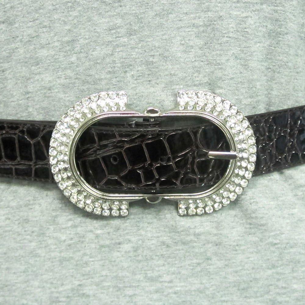 Ladies Fashion Rhinestone Embellished Oval Buckle on Quality Croc Leather Strap