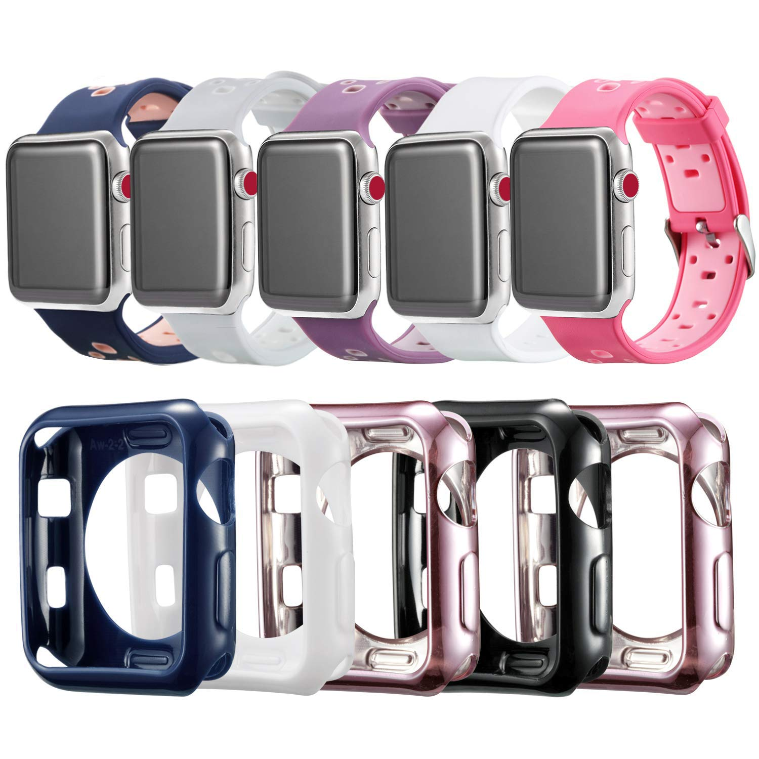 Compatible Apple Watch Band Case 38mm [5 Pack], MAIRUI Protector Bumper Cover TPU Ultra-Slim with Silicone Strap Wristband for Apple Watch Series ...
