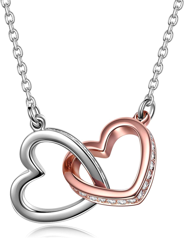 Kami Idea Collar, Regalos para Mamá, Mi Destino, Colgante de Corazón a Corazón, Cristal de Swarovski, Oro Rosa, Joyería de Mujer, Embalaje de Regalo