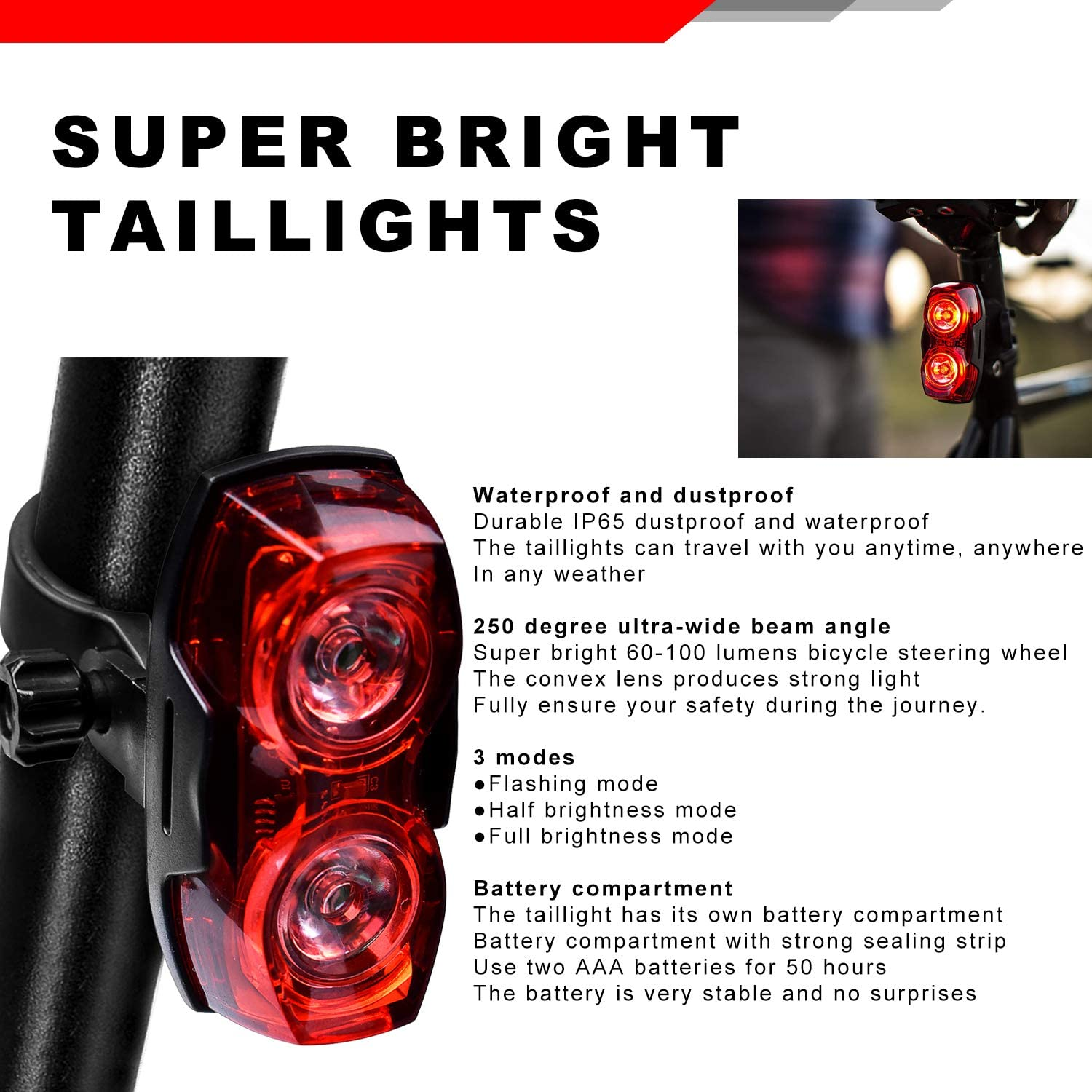 Red Bike Rear Light Bicycle Tail LED Super Bright AAA With Buckle Battery