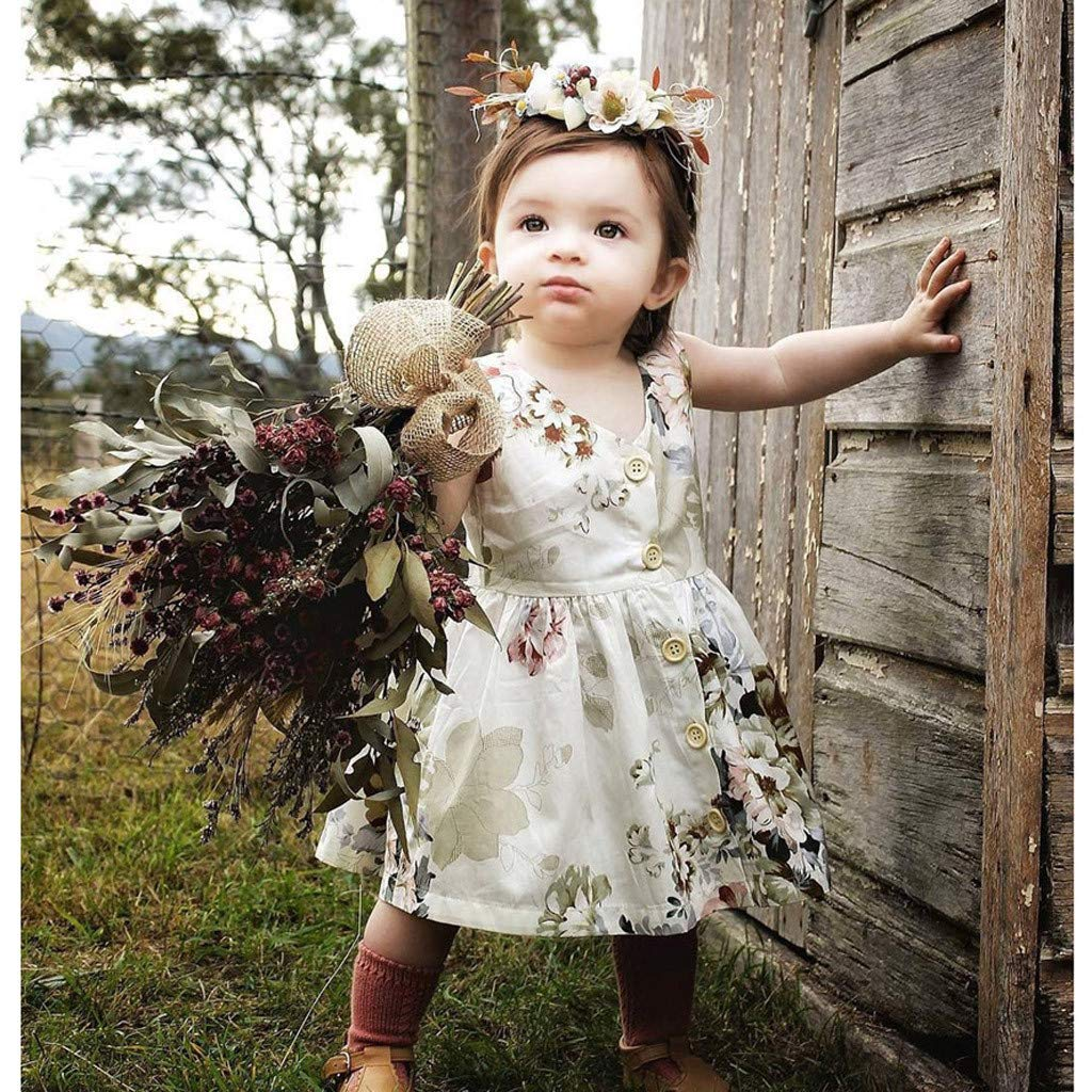 Hauzet Toddler Kids Baby Girl Summer Clothes V-Neck Princess Sleeveless Floral Dress Outfits