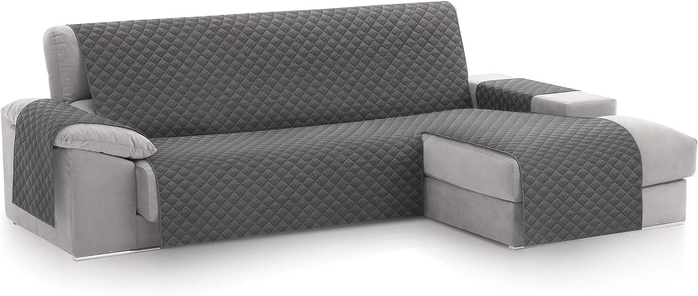 textil-home Funda Cubre Sofá Chaise Longue Malu, Protector para Sofás Acolchado Brazo Derecho. Tamaño -240cm. Color Gris (Visto DE Frente)
