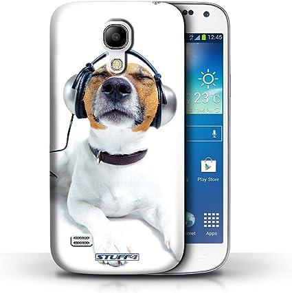 Stuff4 Coque de Coque pour Samsung Galaxy S4 Mini/Chien avec Casque Design/Animaux comiques Collection