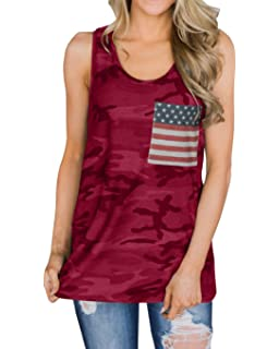 1313327784a4a2 Imysty Womens Casual Sleeveless Camouflage Tank Tops American Flag Print  Racerback Camo Shirts