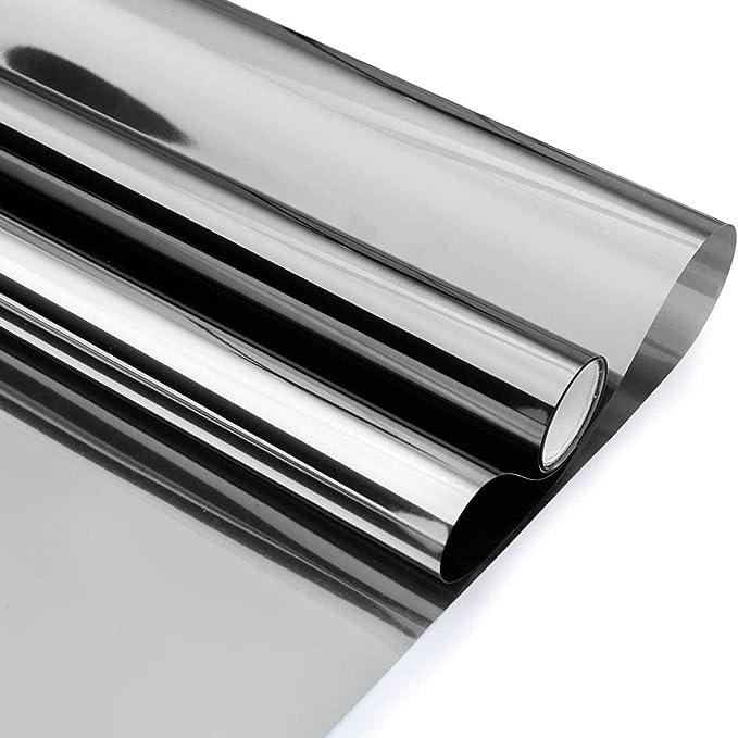 Volcanics Mirror Film Window Film Static Adhesive Film Window Blackout Film Mirror Sun Protection Film Window Interior Sun Protection Uv Protection Dark Silver 60 X 200 Cm Küche Haushalt