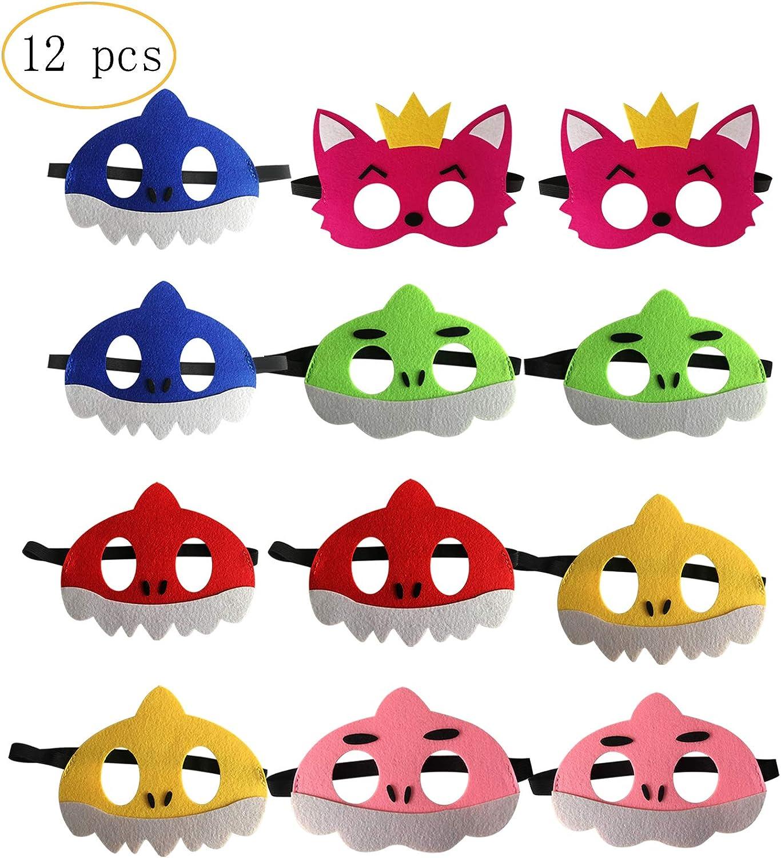 12 pcs Cute Shark Masks Set Shark Party Favors Children Cosplay Soft Mask Birthday Themed Party Masks