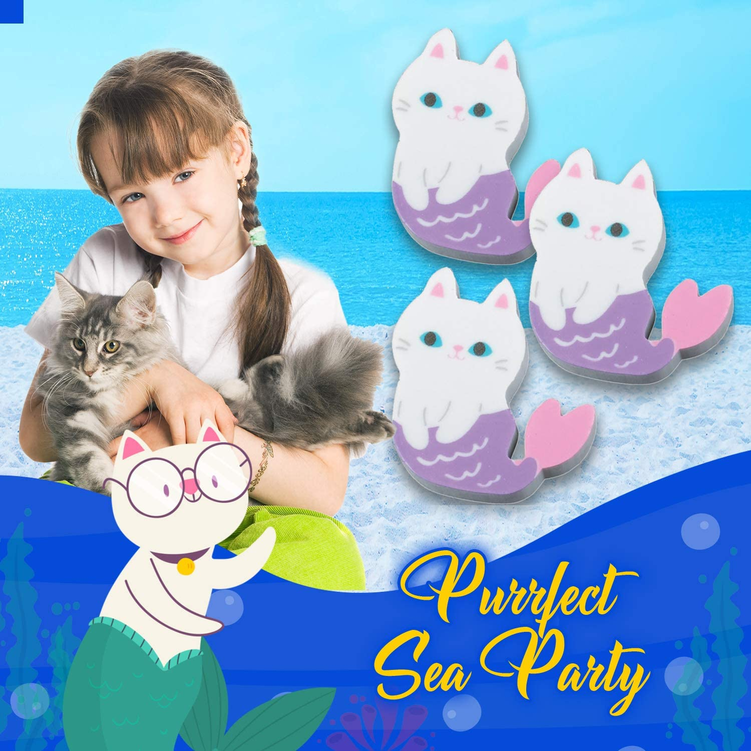 12 Count Party Favors for Kids U.S Themed Toys Supplies Kids Birthday Party Toy Purmaid Erasers