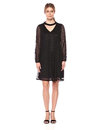 Robbie Bee Womens All Over Crochet Long Sleeve Shift Dress With