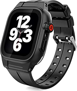 TOWEVINE Waterproof Apple Watch Case 42mm Full Sealed Shockproof iWatch Case with Soft Silicone Band and Anti-Scratch Built-in Screen Protector for Apple Watch 42mm Series 3 and 2