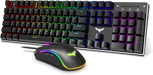 Havit Mechanical Gaming Keyboard and Mouse Combo Blue Switch 104...