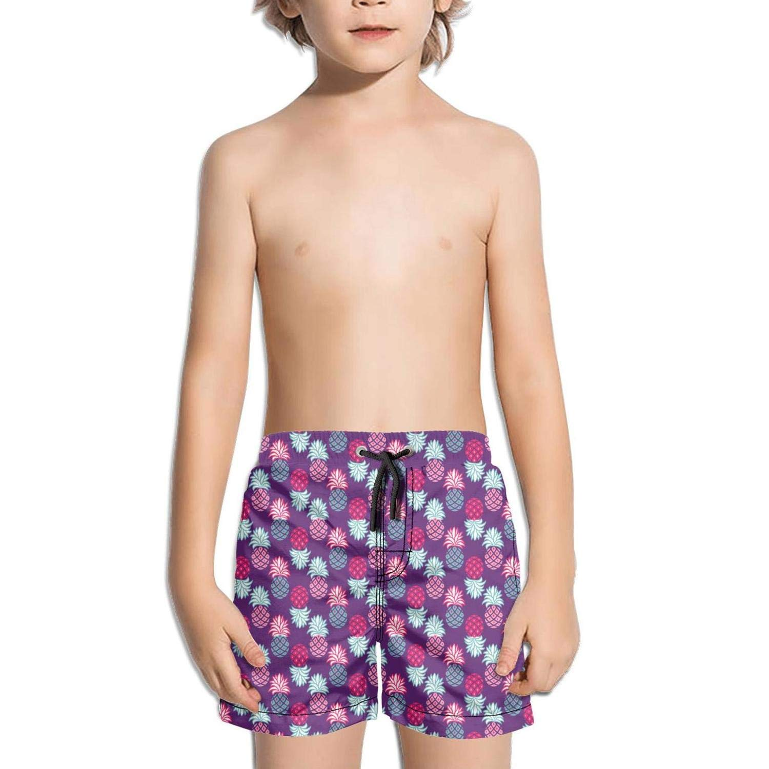 Pink and Blue Pineapple Purple Shorts Swimming Tucks for Kid Quick Dry Beach Fully Lined Swimming Tucks Colorful Extended