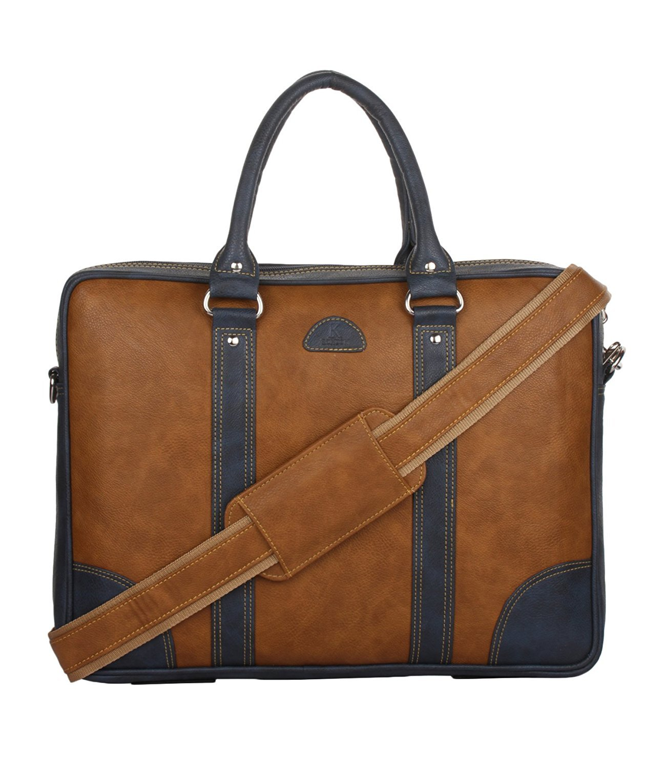 K London Leatherite Handmade Tan Unisex Bag Cross Over Shoulder Messenger Bag with Laptop Compartment (1803_tan) product image