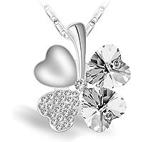 Joyfulshine Collier Femmes Pendentif, Cristal Quatre Feuilles de Trèfle Collier, 18K Plaqué Or Chaîne ou pour Les Cadeau Filles Dames