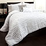 Triangle Home Fashions Lush Decor Modern Chic 5-Piece Comforter Set, Queen, White