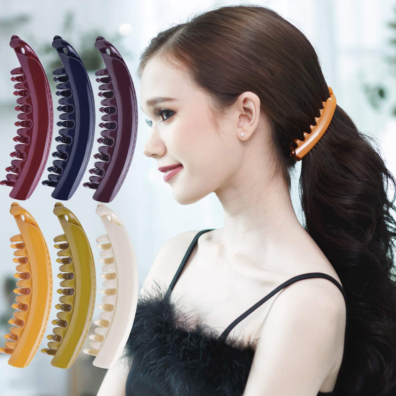 Damen Extra Sparkly Große Bananen Haarspange Pferdeschwanz Inhaber   Braun