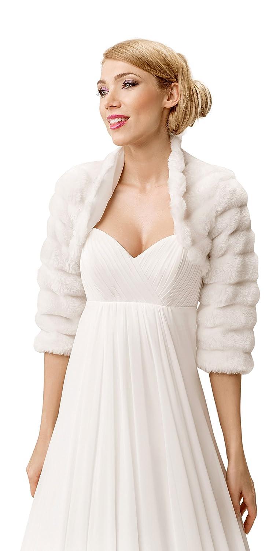 OssaFashion Hochzeitsjacke Bolero Jacke aus kunstlichem Pelz 3/4 Langer arm, volles Futter