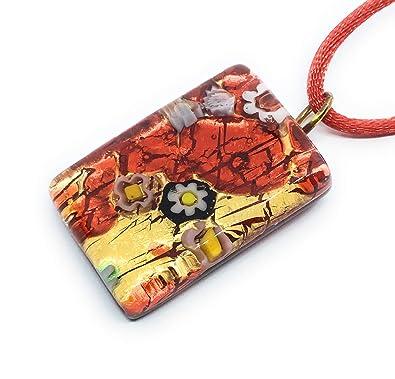Colgante de cristal de Murano - diseño de la hoja de oro ...