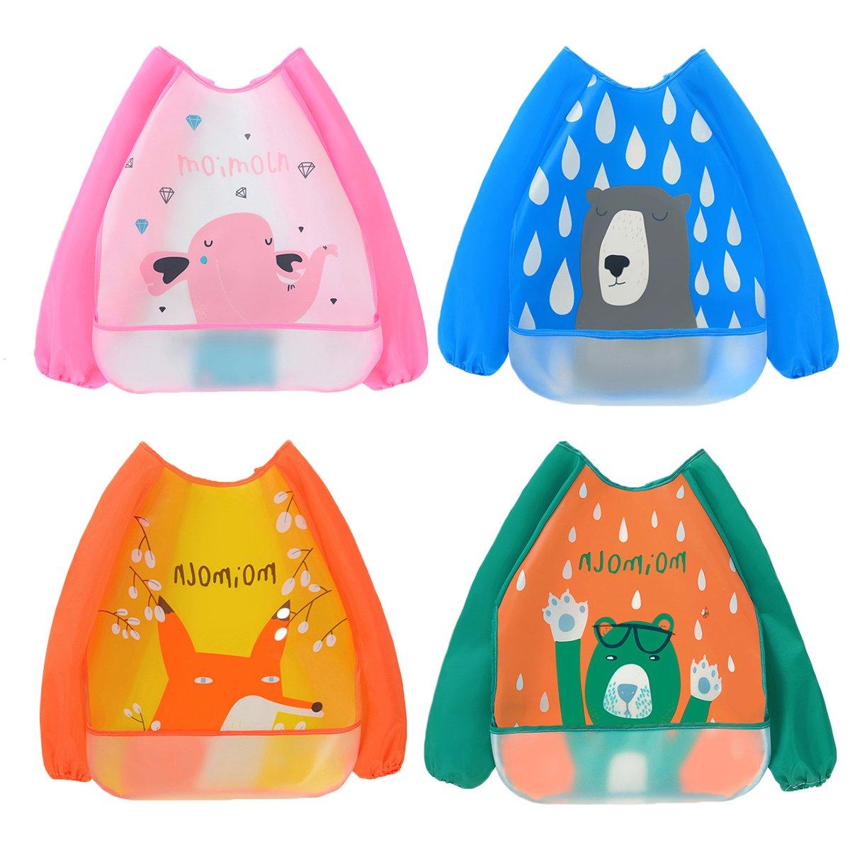 dise/ños de animales y unicornios paquete de 12 Baberos con forma de bandana para beb/é muy absorbentes y hechos de algod/ón Bebedou