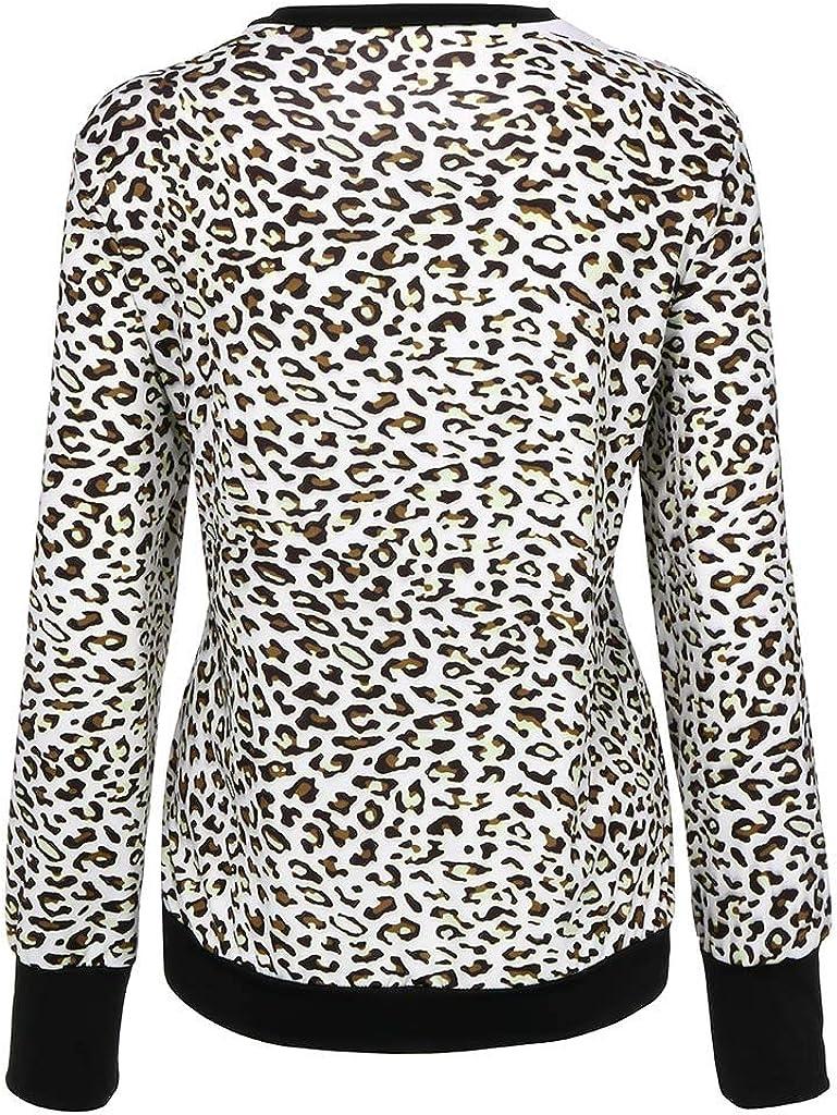 XVSSAA Womens Casual Cute Shirts Leopard Print Tops Basic Short Sleeve Round Neck Soft Blouse