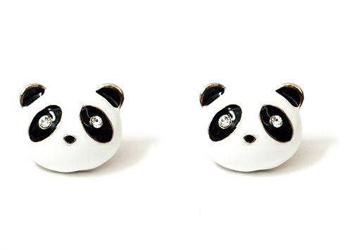 Panda Bear Head Stud Earrings EA00 Crystal Vintage Retro Cute White Pave Posts Fashion Jewelry