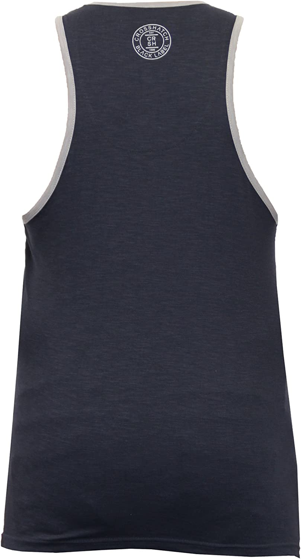 Mens Crosshatch Kimmel Vest Sleeveless Muscle Back Gym Training Tank Top
