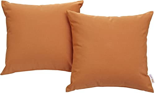 Modway Convene Outdoor Patio All-Weather Pillow in Orange – Set of 2