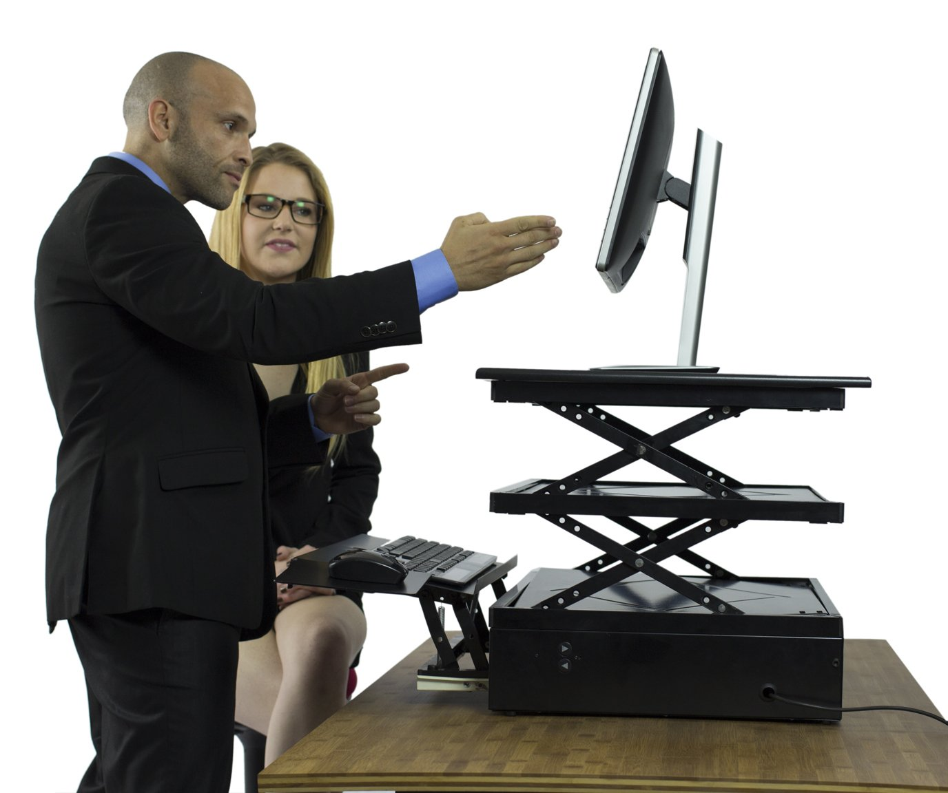 Uncaged Ergonomics Electric Change Desk, Height Adjustable Standing Desk Converter, Ergonomic Stand Up Desk Conversion Kit (CDE-b) by Uncaged Ergonomics (Image #8)