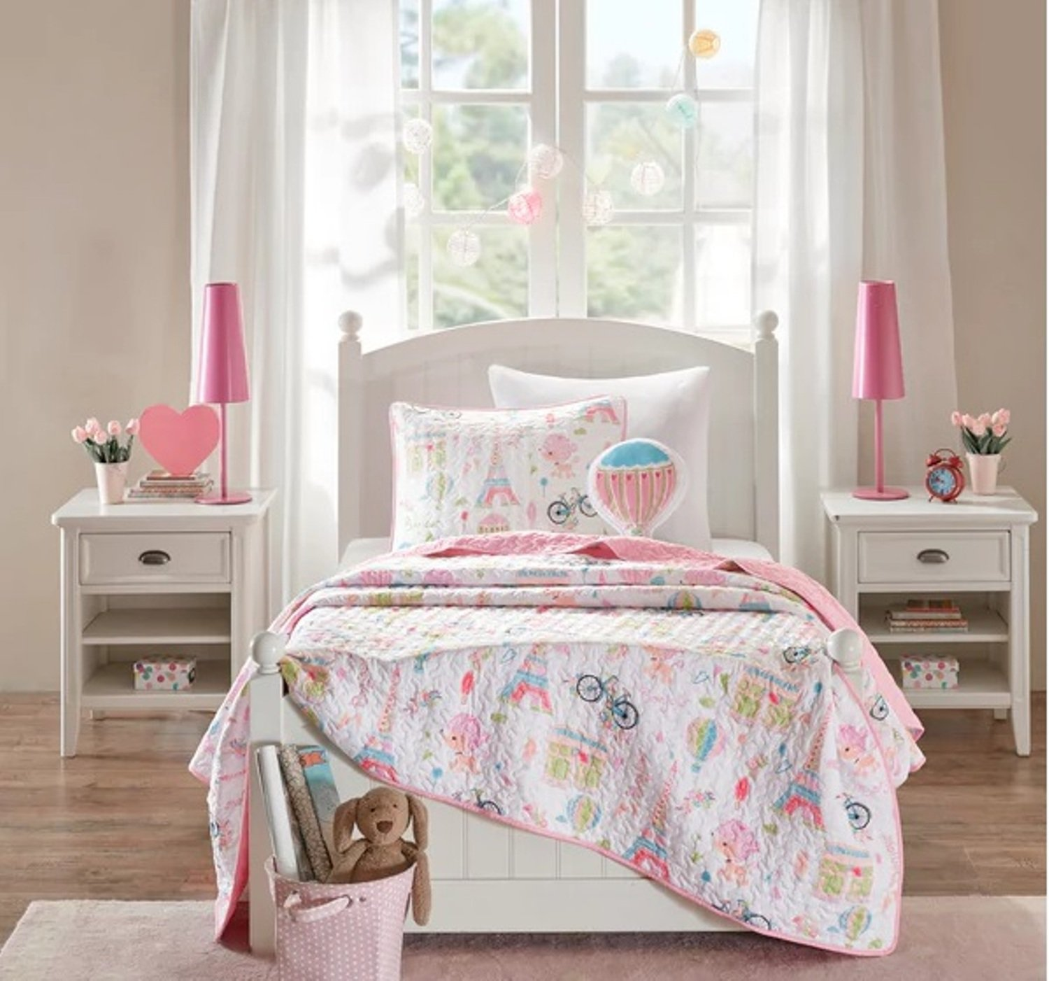 3 Piece Paris Dreamland Themed Coverlet Set Twin Size, Featuring Hot Air Balloons Poodles Bicycles Eiffel Tower Design Bedding, Casual Novelty Parisian Inspired Chic Girls Bedroom, Pink, White by SE