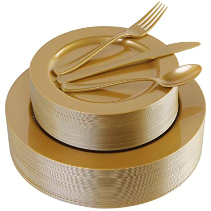"180 Pieces Gold Plastic Plates, Premium Heavyweight Gold Plates, Disposable Plates include: 36 Dinner Plates 10.25"", 36 Dessert Plates 7.5"", 36 Forks, 36 Knives and 36 Spoons"