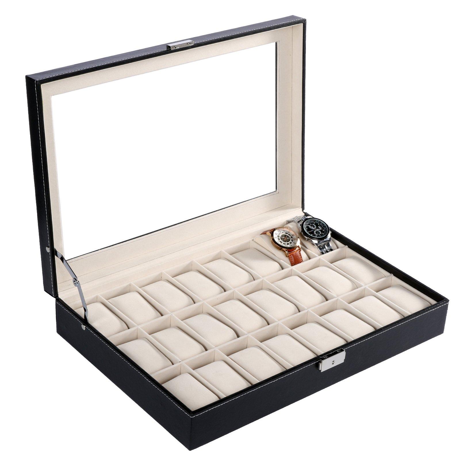 24 Slot PU Leather Watch Box/Watch Case/Jewelry Display Storage Organizer Box with Key&Lock, Glass Top