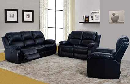 Terrific Lifestyle Furniture 3 Pieces Reclining Living Room Sofa Set Bonded Leather Black Ls2900B 3Pc Theyellowbook Wood Chair Design Ideas Theyellowbookinfo