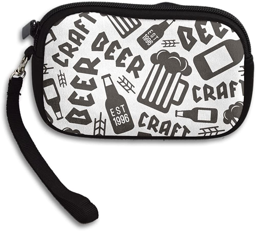 Craft Beer Brewery Pattern Deluxe Printing Small Purse Portable Receiving Bag