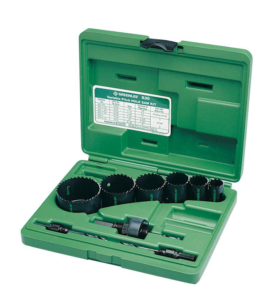 Greenlee 830 Bi-Metal Hole Saw Kit, Conduit Sizes 7/8'' to 2-1/2''