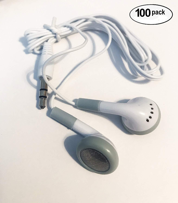 3.5mm イヤホン100個セット 大量まとめ売り ホワイトxグレー 学校 図書館 病院 子どもたち用などに最適   B071G93WGL