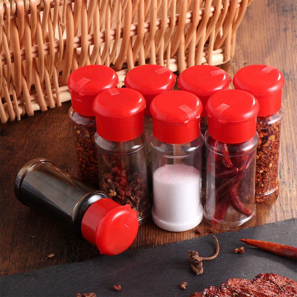 rojo Talla 1 negro BESTONZON 24 botes de pl/ástico para condimentos para barbacoa condimentos cocina salero