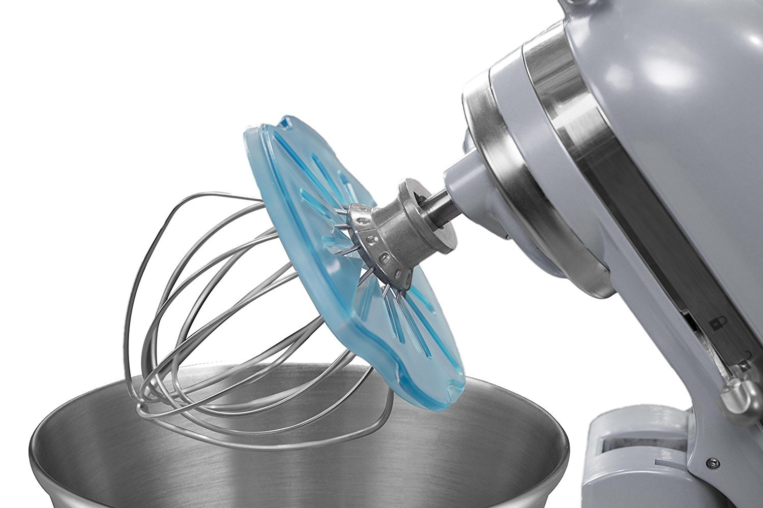 Whisk Wiper PRO for Stand Mixers - Mix Without The Mess - The Ultimate Stand Mixer Accessory - Compatible With KitchenAid Tilt-Head Stand Mixers - 4.5qt, 5qt (Color: Glass Blue)