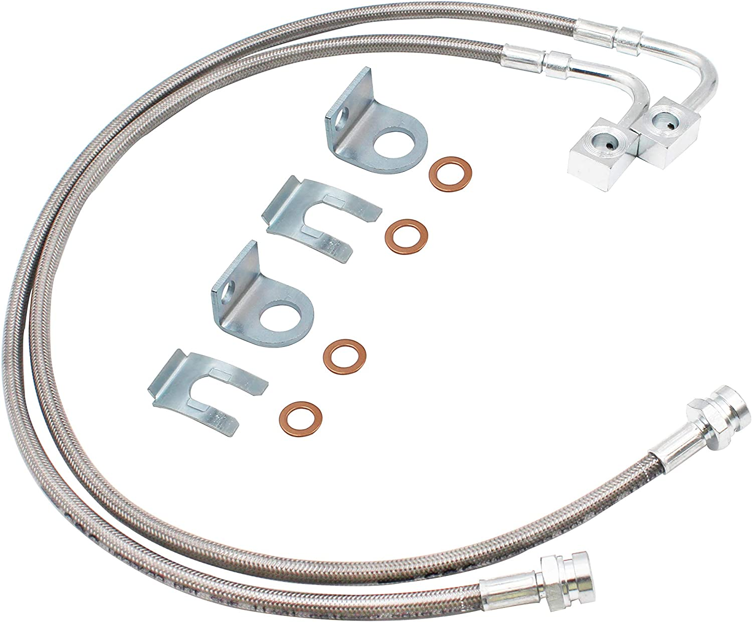 89708 Rear Extended Stainless Brake Lines for 4-6 of Lift suitable for 2007-2017 4WD Jeep Wrangler JK; 2007-2017 4WD//2WD Jeep Wrangler Unlimited JK