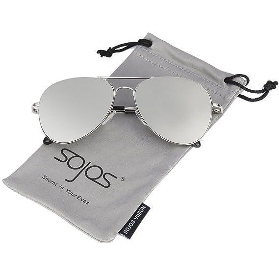 490ec432c1 SOJOS Men s Polycarbonate Aviator Mirrored Lens Women s Sunglasses with  Spring Hinges ...