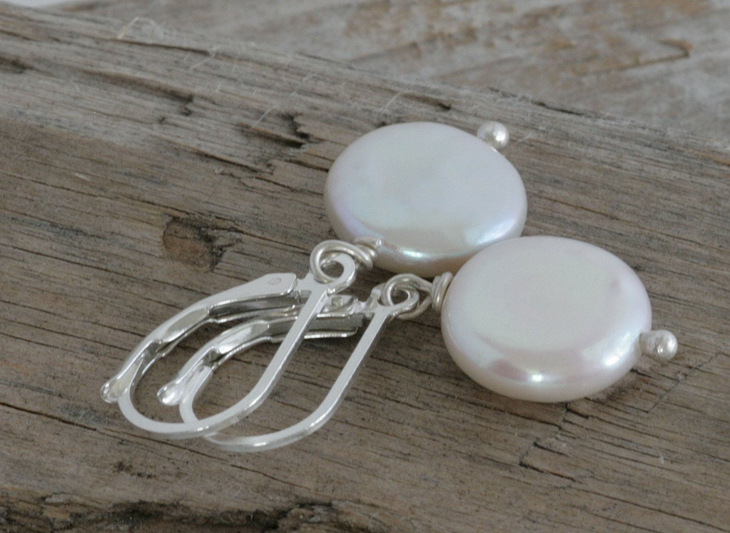 Coin Pearl Sterling Silver Handmade Artisan Earrings
