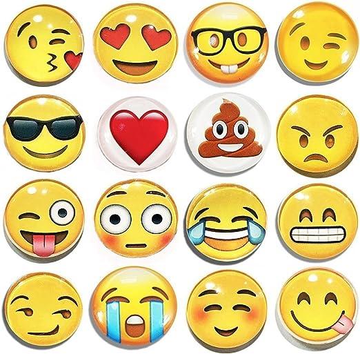 Emoji frigorífico imán fiesta – Conjunto de 16 unidades redondo ...