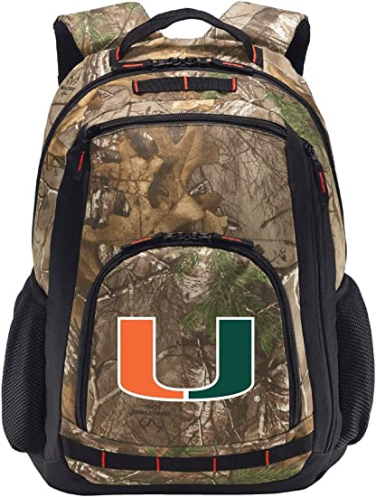 Laptop Section! Broad Bay University of Miami Camo Backpack Realtree Miami Canes Backpacks