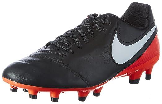 Nike Tiempo Genio II Leather FG Black/White/Hyper Orange/Volt Mens Soccer