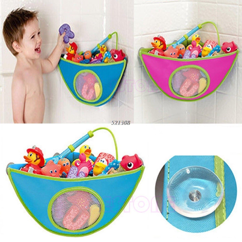 gogil Baby Kids Bath Time Toy Tidy Suckers Cup Triangle Bag Organizer Storage Holder