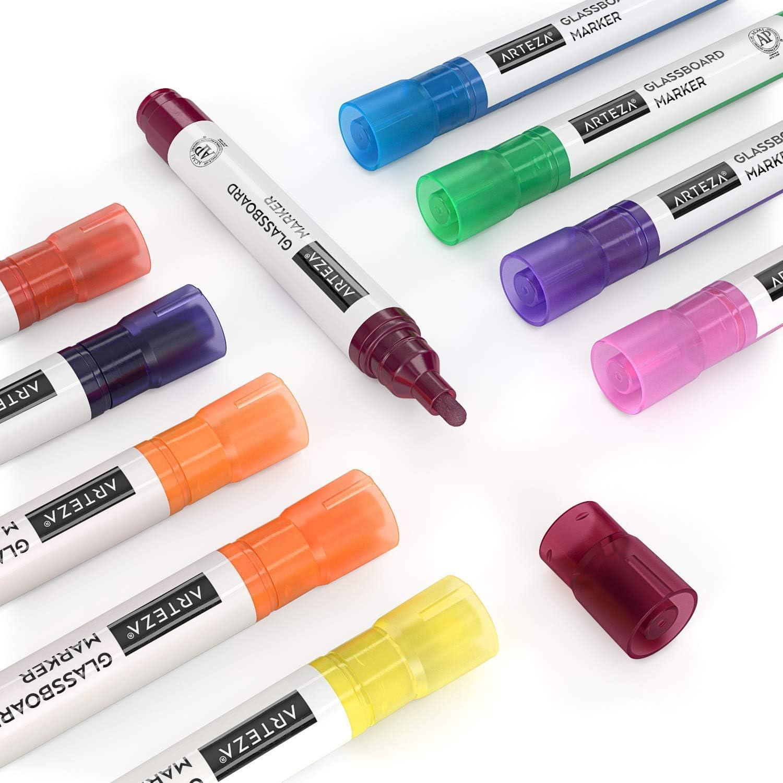 Marqueurs Arteza pour verre 10 couleurs fluo vives marqueurs pour panneaux de verre /à faible odeur pour miroirs marqueurs effa/çables pour vitres fen/êtres et surfaces non poreuses
