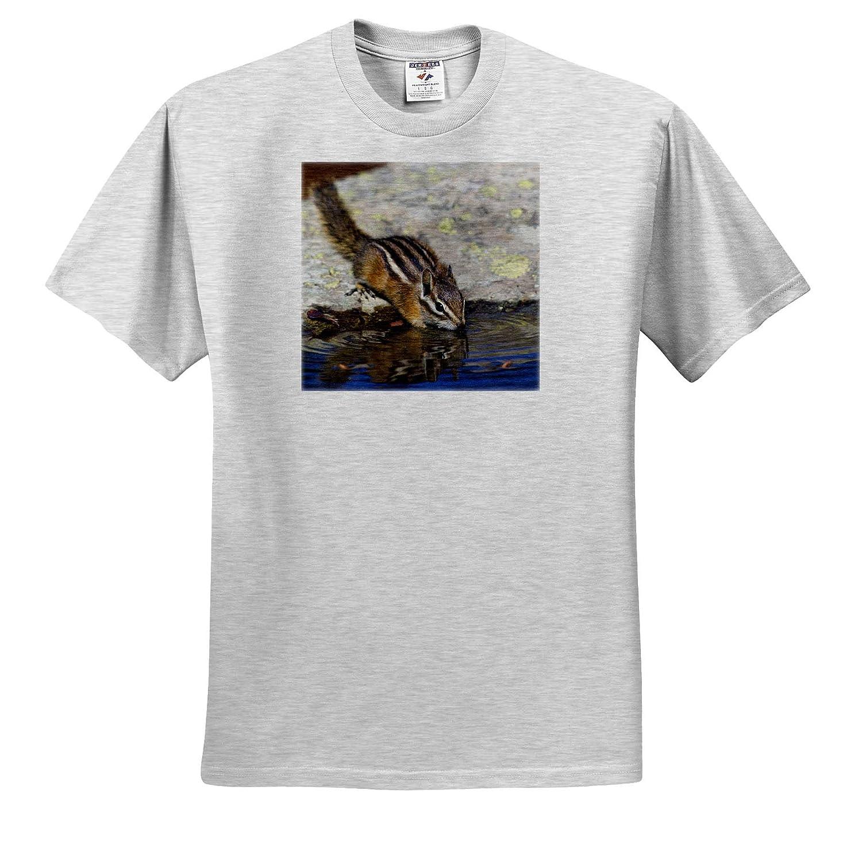 ts/_315174 Drinking at a rain Water Pool Mammals Adult T-Shirt XL Townsends Chipmunk 3dRose Danita Delimont
