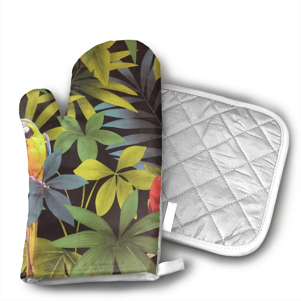 Wiqo9 Parrot Oven Mitts and Pot Holders Kitchen Mitten Cooking Gloves,Cooking, Baking, BBQ.