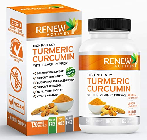 Double Strength Organic Turmeric Black Pepper Renew Actives 1300mg Turmeric Curcumin Supplement with Bioperine – Natural Anti Inflammatory Pills for Joint Pain Support – 120 Veggie Capsules