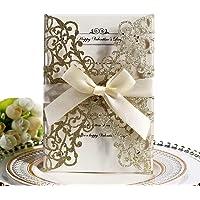 Tarjetas de invitación de boda,10Pcs Hollow diseño floral