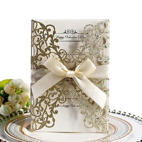 Lot De 10 Cartes Dinvitation De Mariage Motif Floral Creux